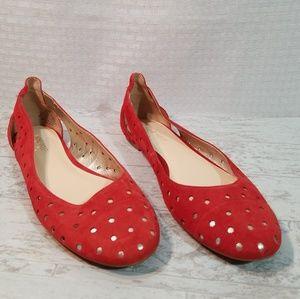 Nine West Marie Die-cut Red Ballerina Flats 8 1/2M
